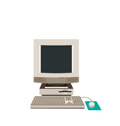 Desktop pc computer equipment old vector