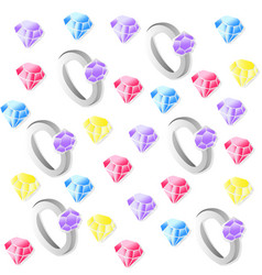 diamond rings pattern background vector image