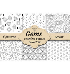 diamond seamless pattern set line sketch doodle vector image