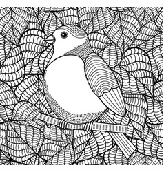 doodle bird on black and white background with vector image