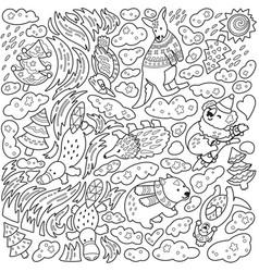 doodle christmas print with unique australian vector image