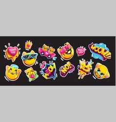 emoji cat sticker vector image