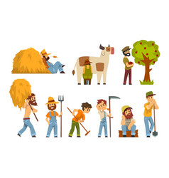 farmers at work set farm worker with gardening vector image