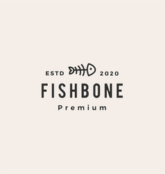 fish bone cat food hipster vintage logo icon vector image