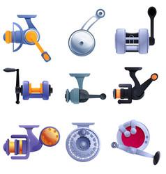 fishing reel icons set cartoon style vector image