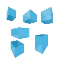 flat 3d cubes and parallelepipeds set of vector image