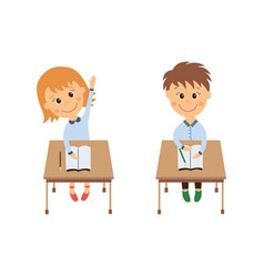 Flat girl boy sitting at desk raising hand vector