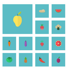 Flat icons melon slice apricot mango and other vector