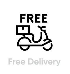 Free delivery bike icon editable line vector
