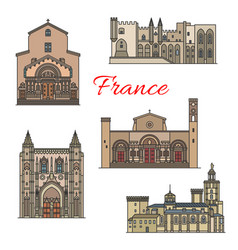 French travel landmarks thin line vector
