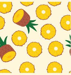 fruit seamless pattern pineapple halves vector image