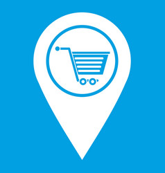 Geo tag with shopping cart symbol icon white vector