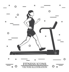 girl run on the treadmill machine vector image