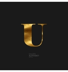 Golden letter U vector image