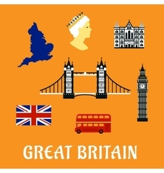 Great britain travel flat icons vector