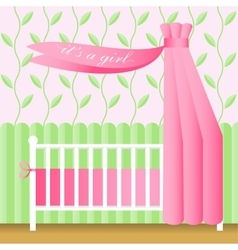 Greeting card with pink baby bed vector
