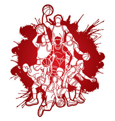Group basketball players action cartoon graphic vector