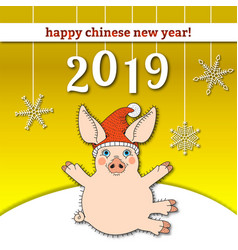happy chinese new year 2019 banner card of pig vector image