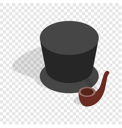 Hat and smoking pipe isometric icon vector