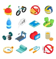 Healthy lifestyle isometric icons vector image