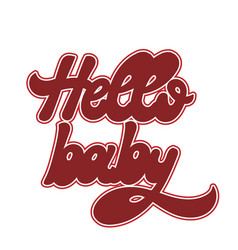 hello bahand drawn lettering isolated vector image
