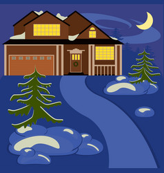 house in winter night vector image vector image