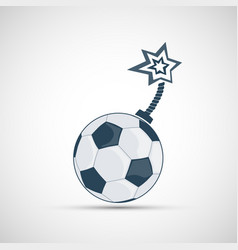 Icon soccer ball like a bomb with a wick vector