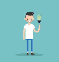 Idea concept aha moment young smiling bearded guy vector