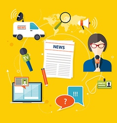 Journalism press news reporter Set of journalism vector image