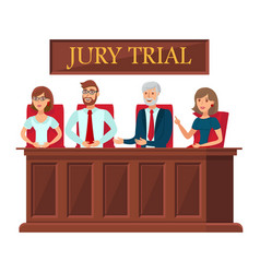 Jury trial representatives flat banner template vector