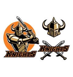 knight mascot swinging sword vector image