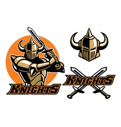 Knight mascot swinging the sword vector