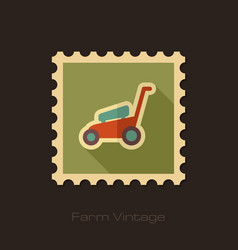Lawn mowers retro flat stamp garden vector