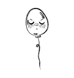 Line kawaii angry and cute balloon design vector