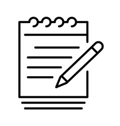 linear paper document write notes icon vector image