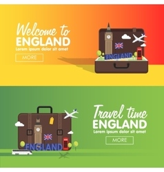 London England travel destinations icon set Info vector image