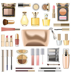 Makeup cosmetics with golden cosmetic bag vector