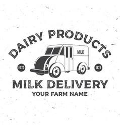Milk delivery badge logo typography vector