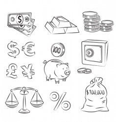 money sketch set vector image