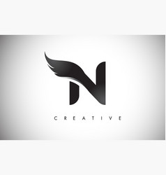 N letter wings logo design with black bird fly vector