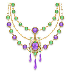 Necklace with amethyst vector