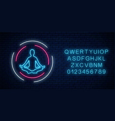 neon glowing sign yoga exercices club with vector image