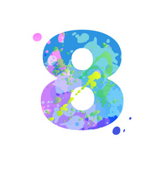 Number 8 with effect liquid spots paint vector