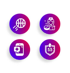 Nurse medical phone and basketball icons set ph vector