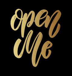 open me lettering phrase on dark background vector image