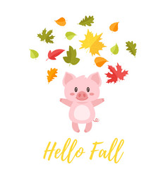 Pig tossing autumn colorful leaves vector