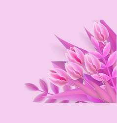 pink background with mesh gradient flower bouquet vector image