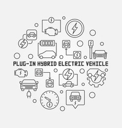 plug-in electric vehicle round minimal line vector image