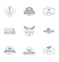 Quick delivery logo set simple style vector