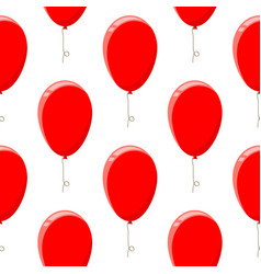 red balloons seamless pattern vector image